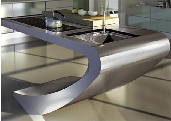 Unusual Kitchen Set Design...Very Space Age-y #kitchen