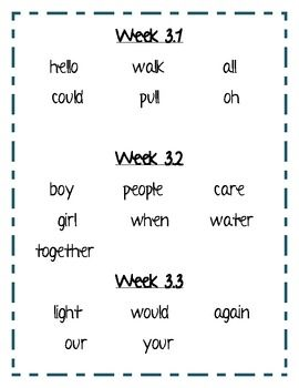 Treasures Reading Program First Grade Take home Sight word