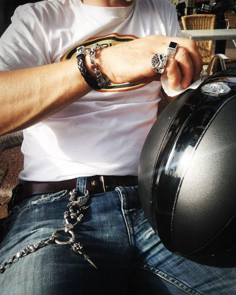 Harley-Davidson Silver Jewelry by Thierry Martino, designed and crafted by bikers for bikers. #HDbyTM #TMsilverjewelry #Bikerlifestyle http://www.soulfetish.com/en/jewelry/harley-davidson/