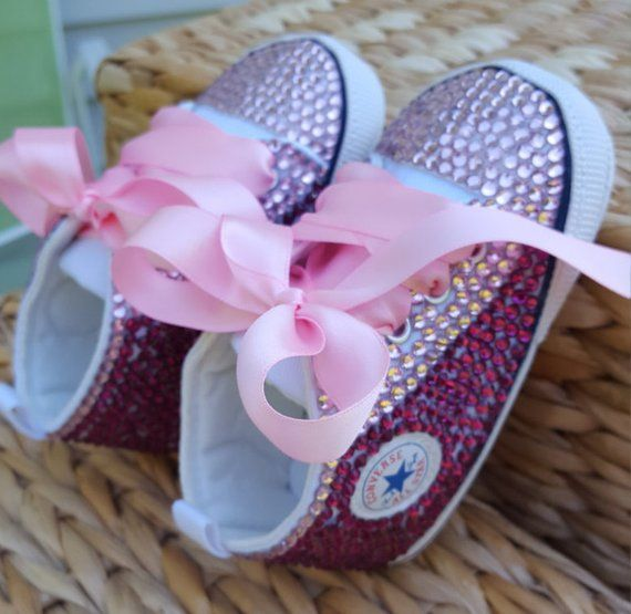 15597d06bed1 BABY CONVERSE Crystal Converse Baby Shoes - Many Sizes Leather Converse