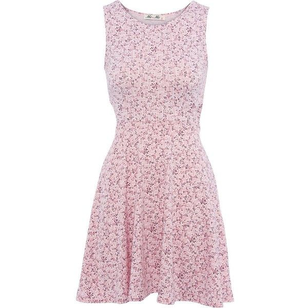 Meme Pink Cut Out Side Floral Dress ($20) ❤ liked on Polyvore ...