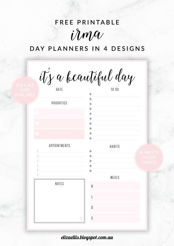 Free Printable Irma Daily Planners by Eliza Ellis ...