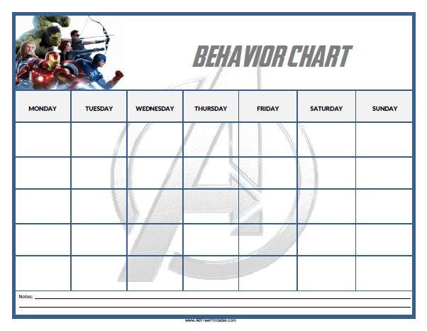 Free Printable Avengers Behavior Chart  Grandkids