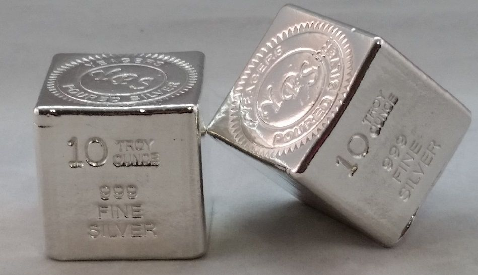 10oz Hand Poured 999 Silver Bullion Bar Cube By Yeagers Poured Silver Yps Silver Bullion Gold Bullion Coins Buy Gold And Silver