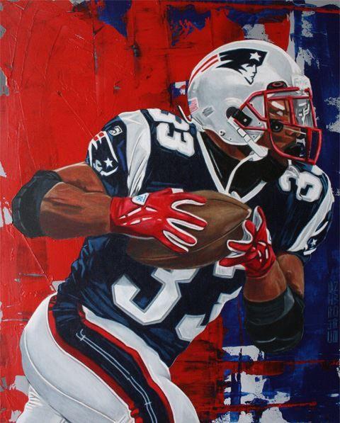 Ne Patriots Kevin Faulk By Chris Brown Patriots History Sports Art Nfl History