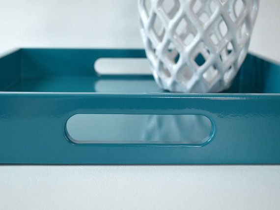Ottoman Trays Home Decor Extraordinary Our Richly Saturated Teal Lacquered Wood Serving Tray Is A Decorating Inspiration