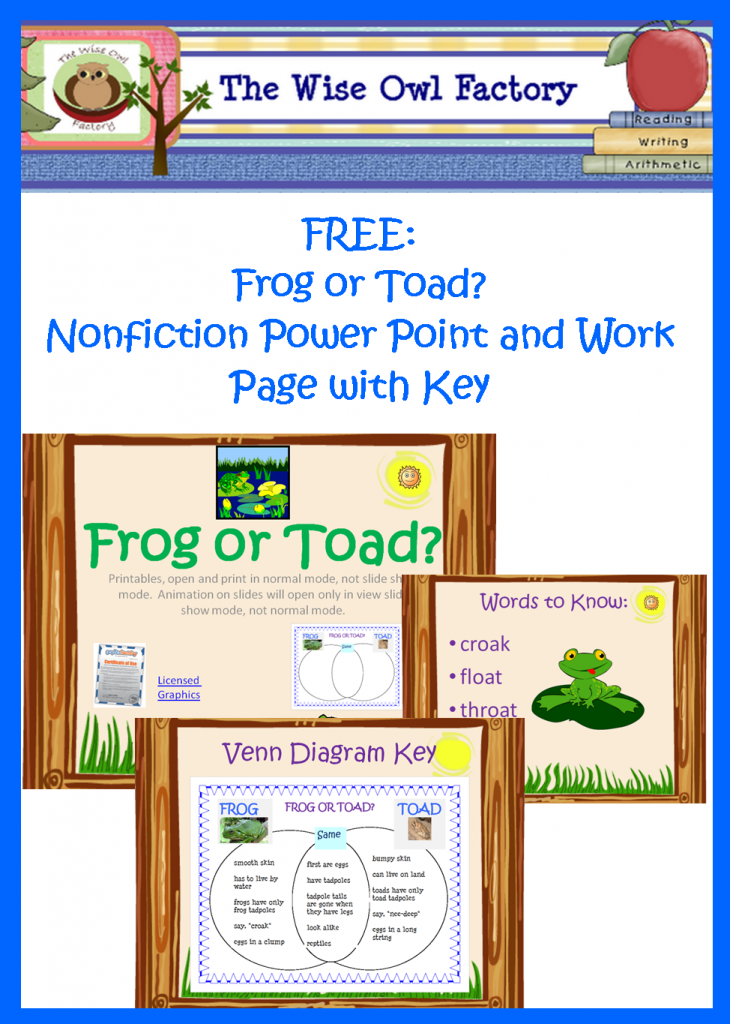 Frog Or Toad Free Resources Venn Diagrams Toad And Frogs