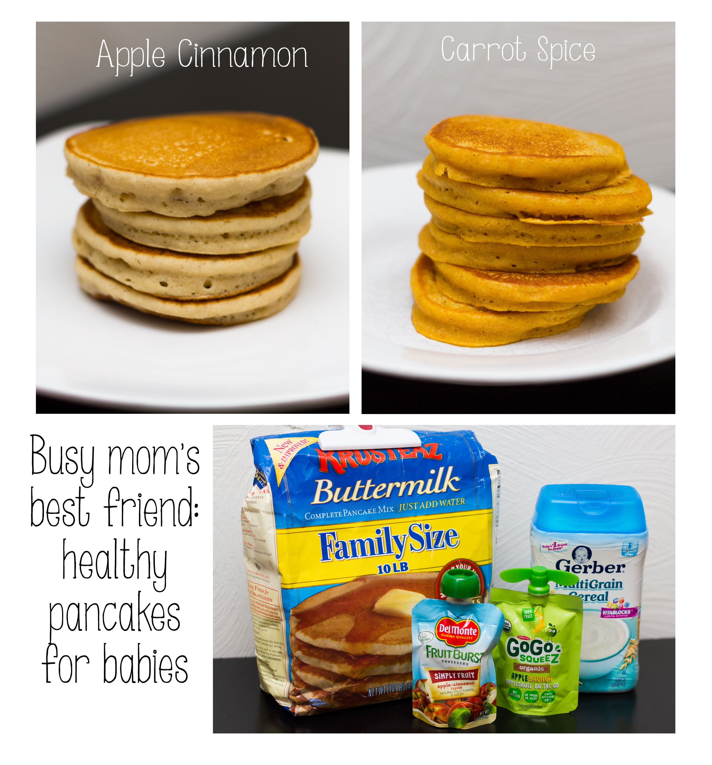 My 11-month old LOVES these healthy, easy pancakes (freeze in Ziplocks for  quick breakfasts)! Apple cinnamon: apple pu… | Baby food recipes, Baby  cereal, Baby fruit