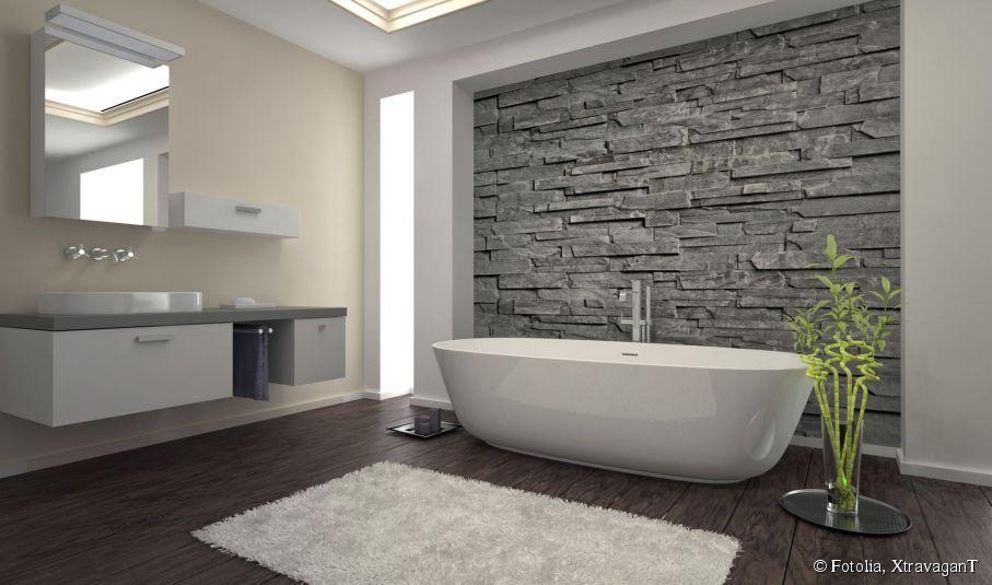 Combler Les Vides Pour Amenager Une Grande Salle De Bain Bathroom Feature Wall Modern Bathrooms Interior Modern Bathroom Wall Decor