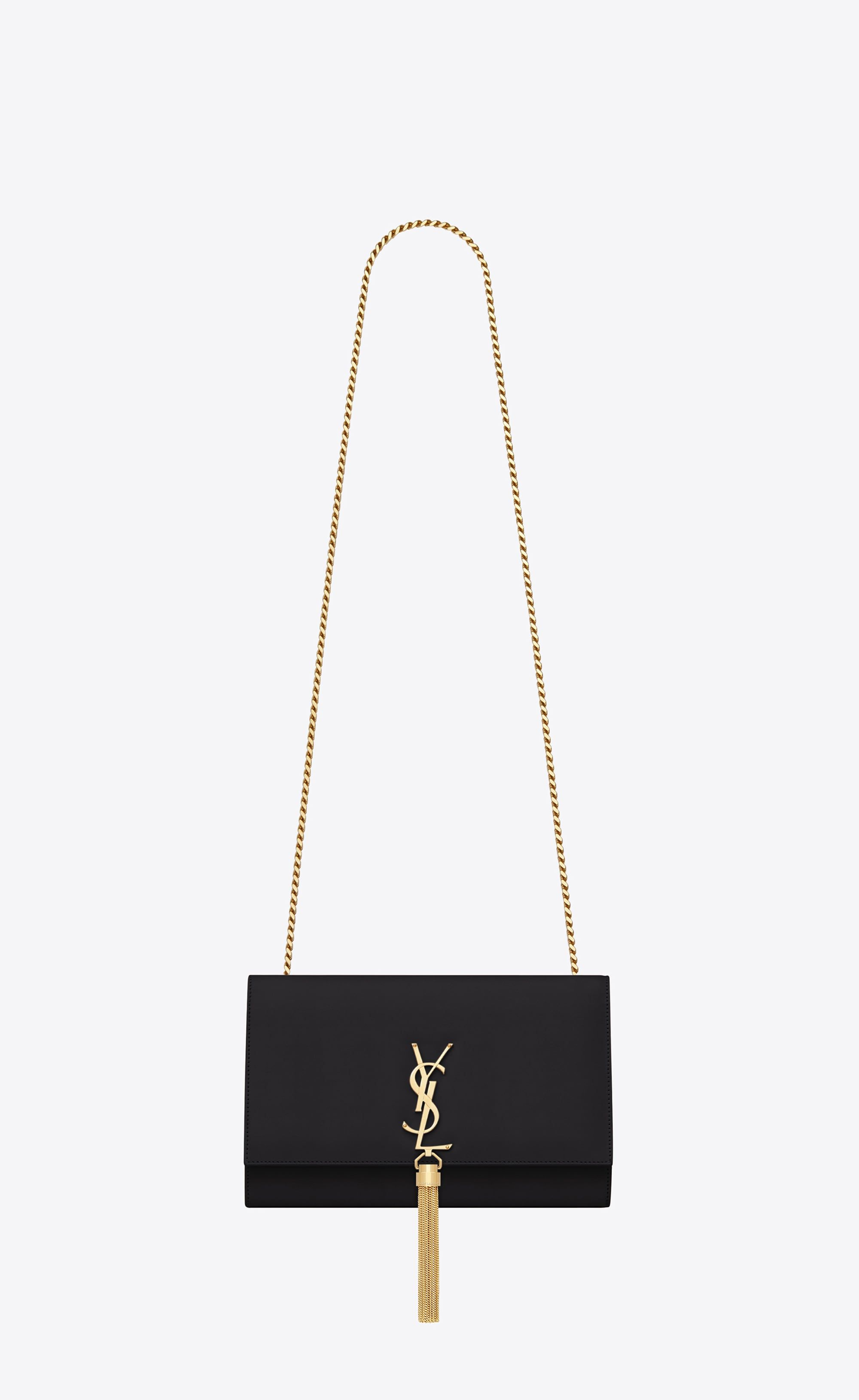 4f8b4dc5fe2f SAINT LAURENT MONOGRAM KATE WITH TASSEL Woman Medium KATE chain bag tassel  in black tulip crocodile-embossed shiny leather V4