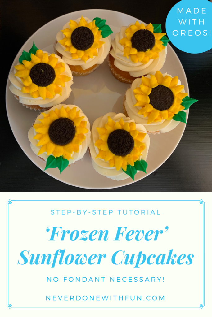 Buttercream Oreo Sunflower Cupcakes | #NeverDoneWithFun #sunflowercupcakes