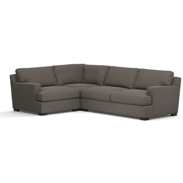 Pottery Barn Townsend Square Arm Upholstered Right Arm 3-Piece Corner... (76,040 MXN) ❤ liked on Polyvore featuring home, furniture, sofas, ebony, pottery barn loveseat, upholstered loveseat, black sofa, pottery barn sectional and black fabric sectional