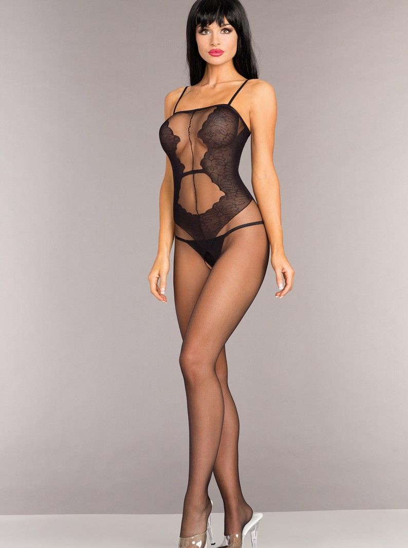 bd5c65ee8384 Sheer crotchless bodystocking with faux lace teddy silhouette and tank  straps. Model is wearing a panty- not included. Other accessories not  included.
