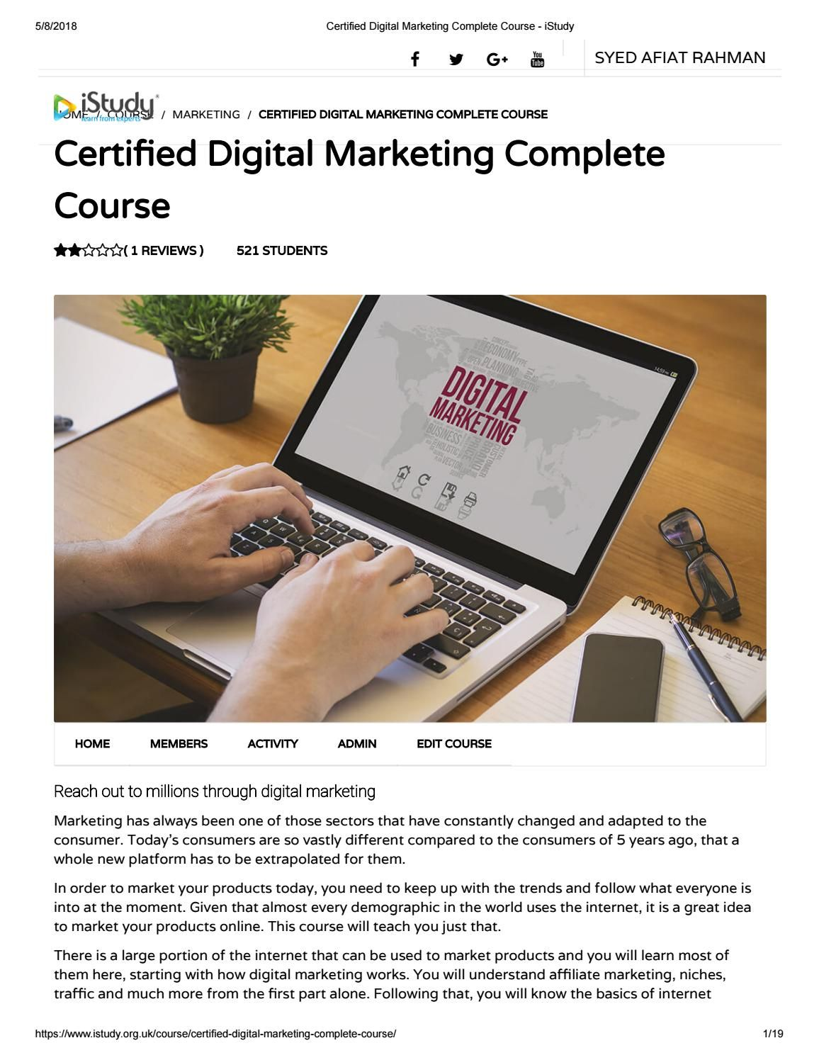 Certified digital marketing complete course istudy
