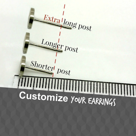 Extra Long Post Earrings Thick Lobe Custom For Men Fat Earlobe S 420