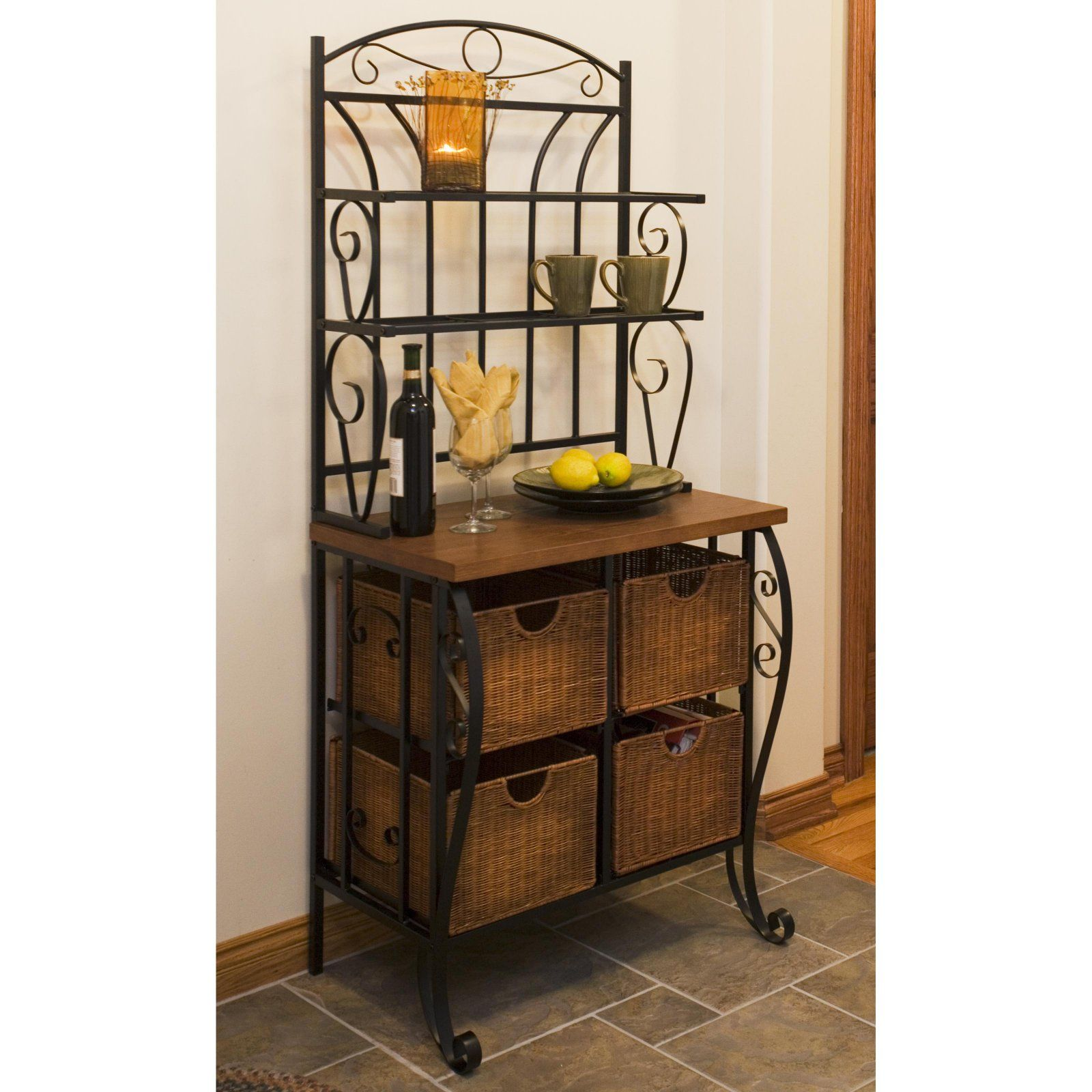 Southern Enterprises Iron Wicker Bakers Rack Wicker Baskets