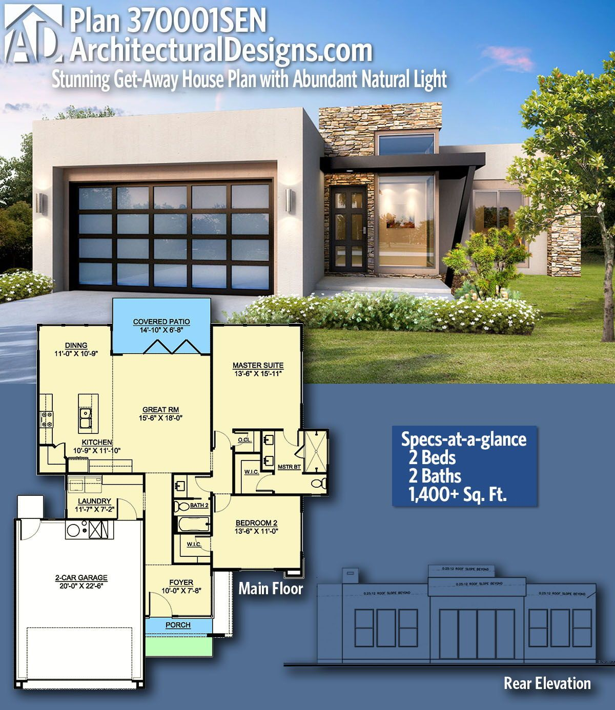 Architectural Designs Home Plan 370001sen Gives You 2 Bedrooms 2 Baths And 1 400 Sq Ft Ready When You Are Where House Plans House Design Metal House Plans