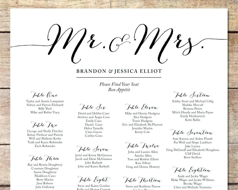 Seating chart for wedding template simple romantic customizable also printable large black  white rh pinterest