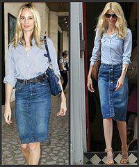Celebrity Denim Skirts Outfits