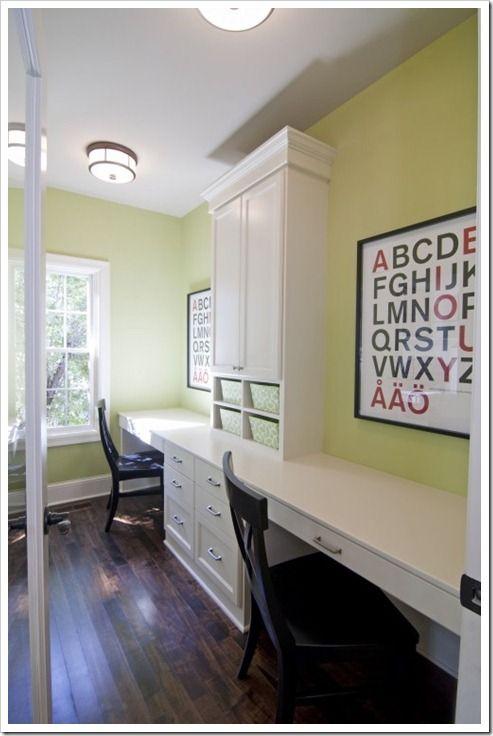 Study Room Color Ideas: Built In Desk, Green Kids