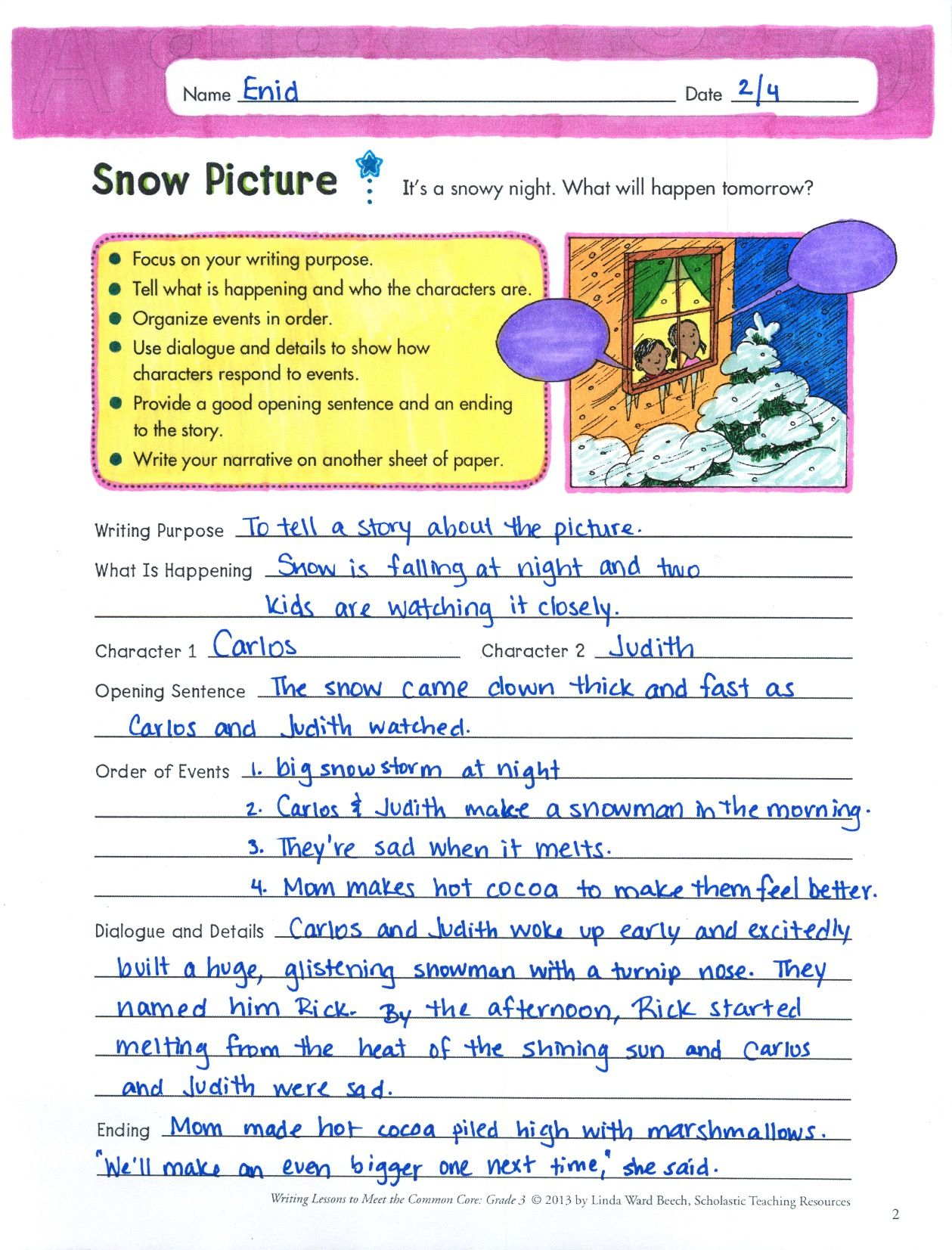 This Step By Step Narrative Writing Lesson Includes Guided