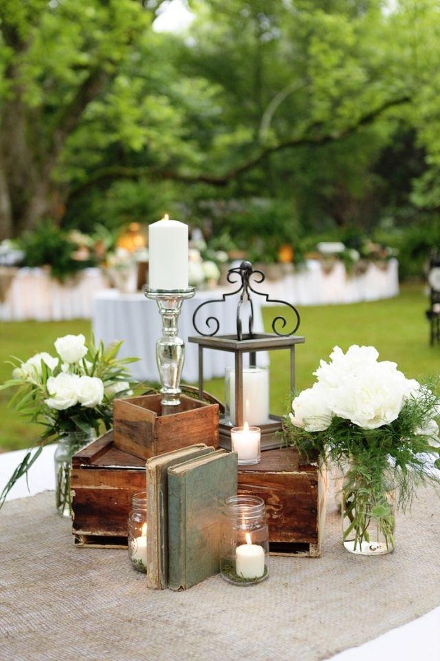 Garten Hochzeit Fruhling Tischdeko Vintage Flair Weisse Blumen