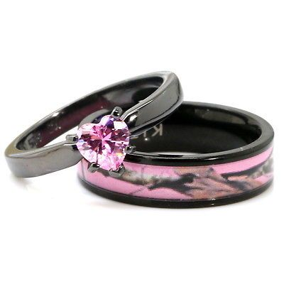 His, Her Black Pink Titanium Camo Heart Stainless Steel Engagement Wedding  Rings