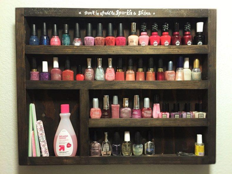 DIY Wood Nail Polish Rack – Free plans! | Diy nail polish ...