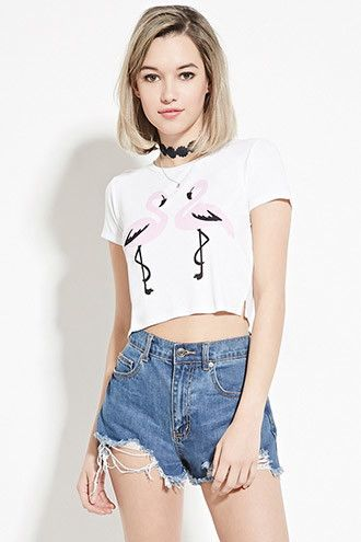 37539771552 Flamingo Graphic Crop Top | Forever 21 - 2000153838 | Fashion in ...