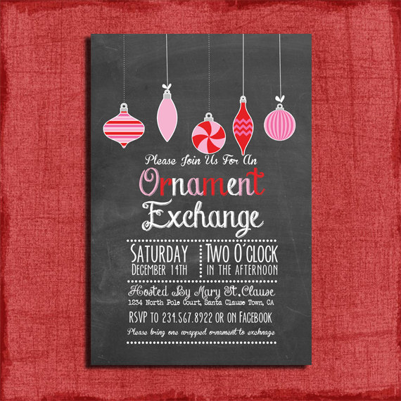 printable chalk style holiday ornament exchange party invitation diy