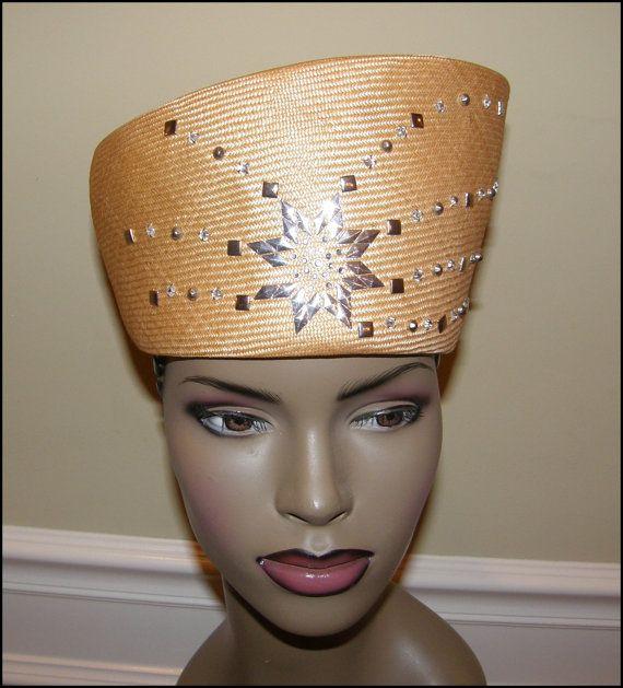 Queen Nefertiti Asymetrical Golden Church Hat Free Shipping In Etsy Church Hats Queen Nefertiti Wedding Hats