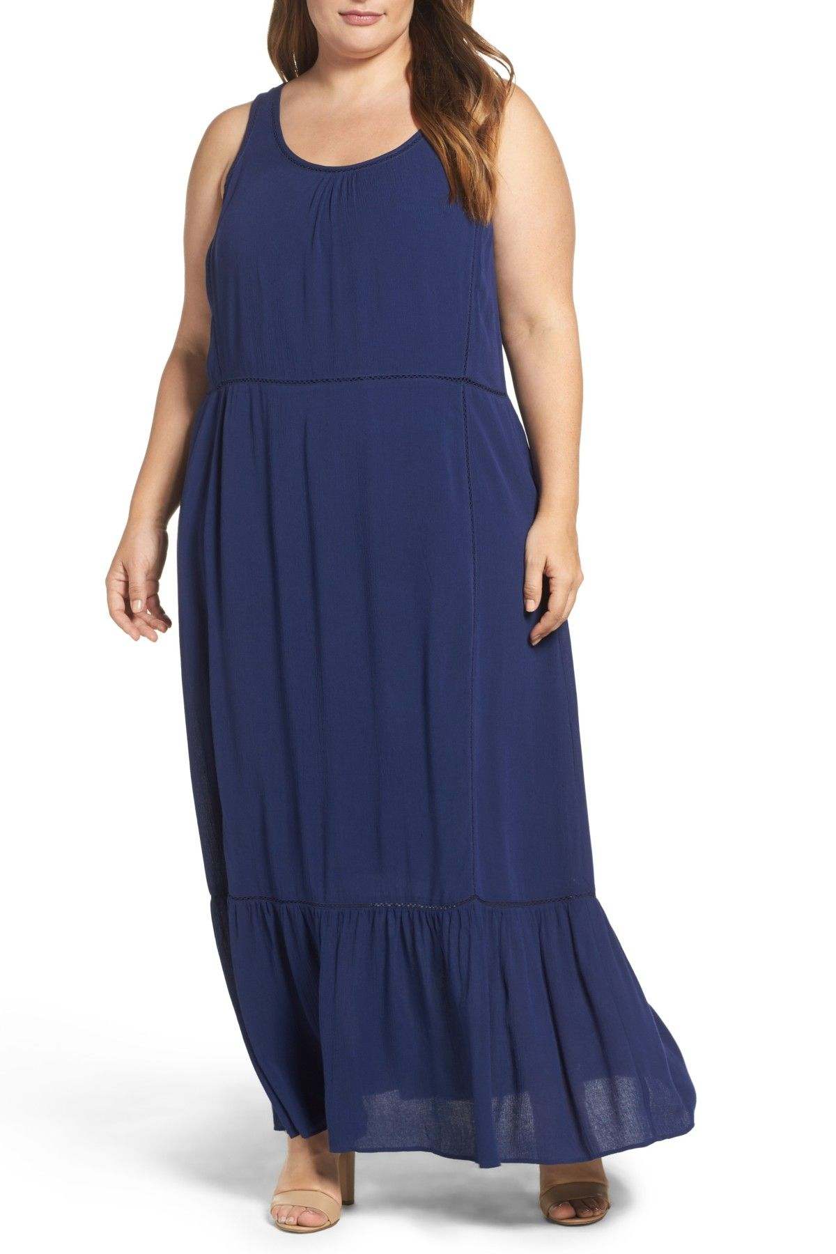 Sejour flounce hem maxi dress plus size free shipping and products
