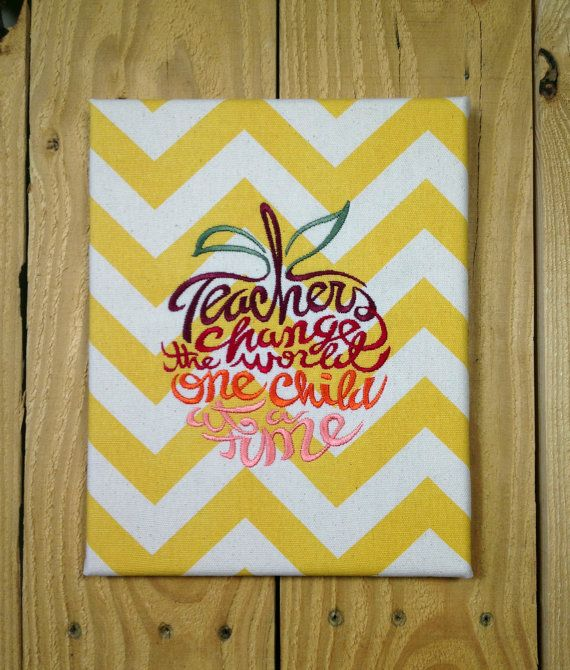 Embroidered Canvas Wall Art - Teachers Change The World | Teacher ...
