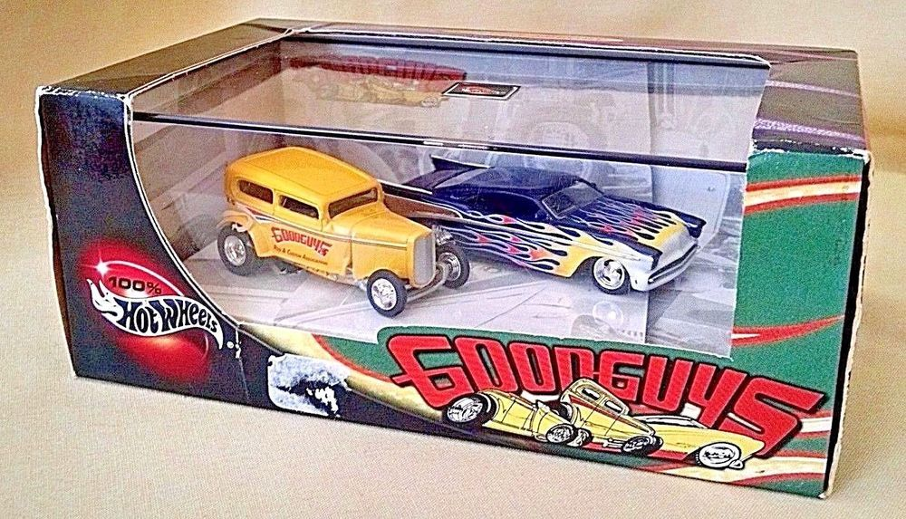 Hot Wheels Good Guys 2 Car Set New 1957 Chevy 1932 Ford 57378 Ltd Ed Display Box Hotwheels Hot Wheels Hot Wheels Display Case Car Set