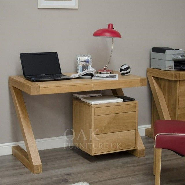 Z Shape Solid Oak Small Computer Desk