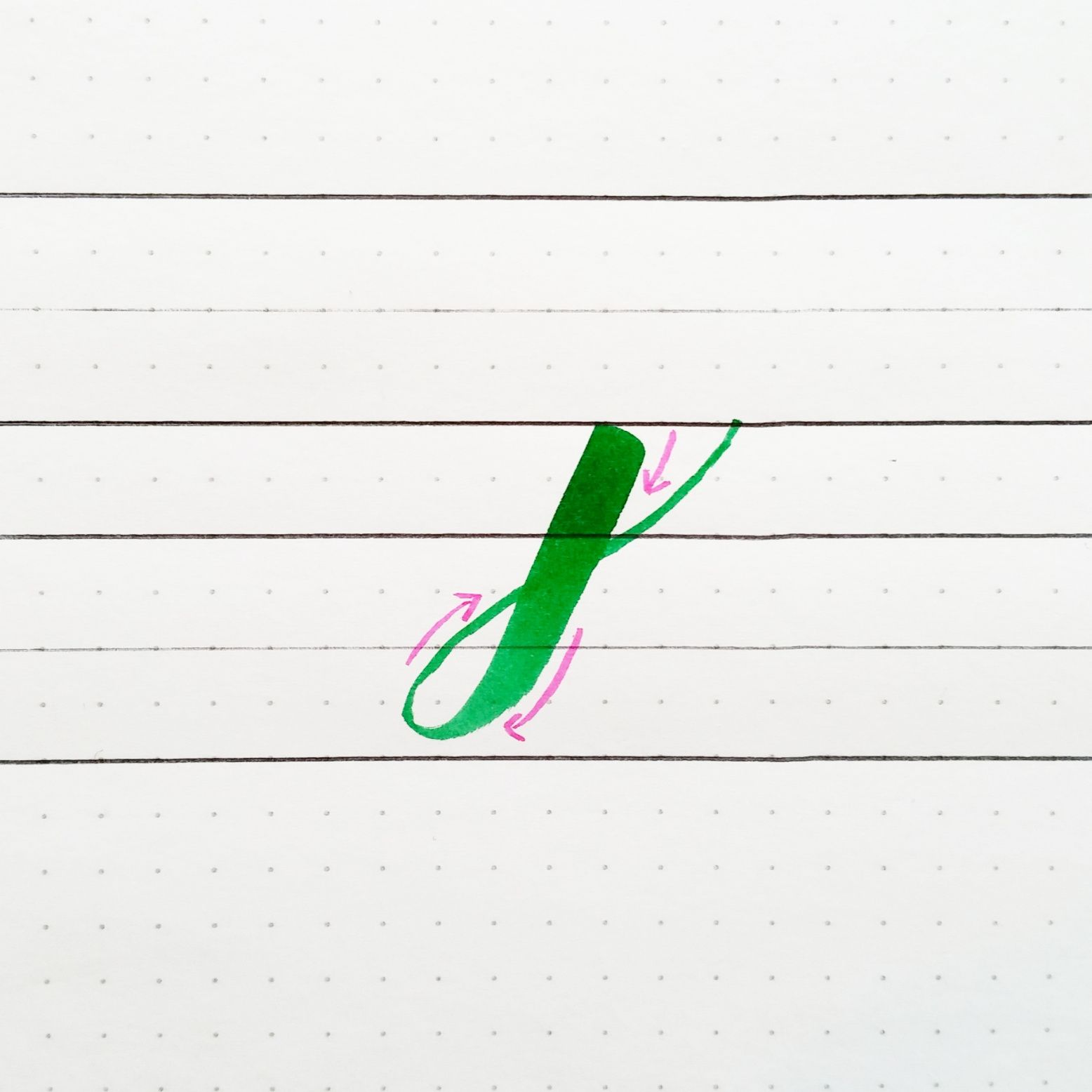Basic Brush Calligraphy Strokes The Descending Stem Loop