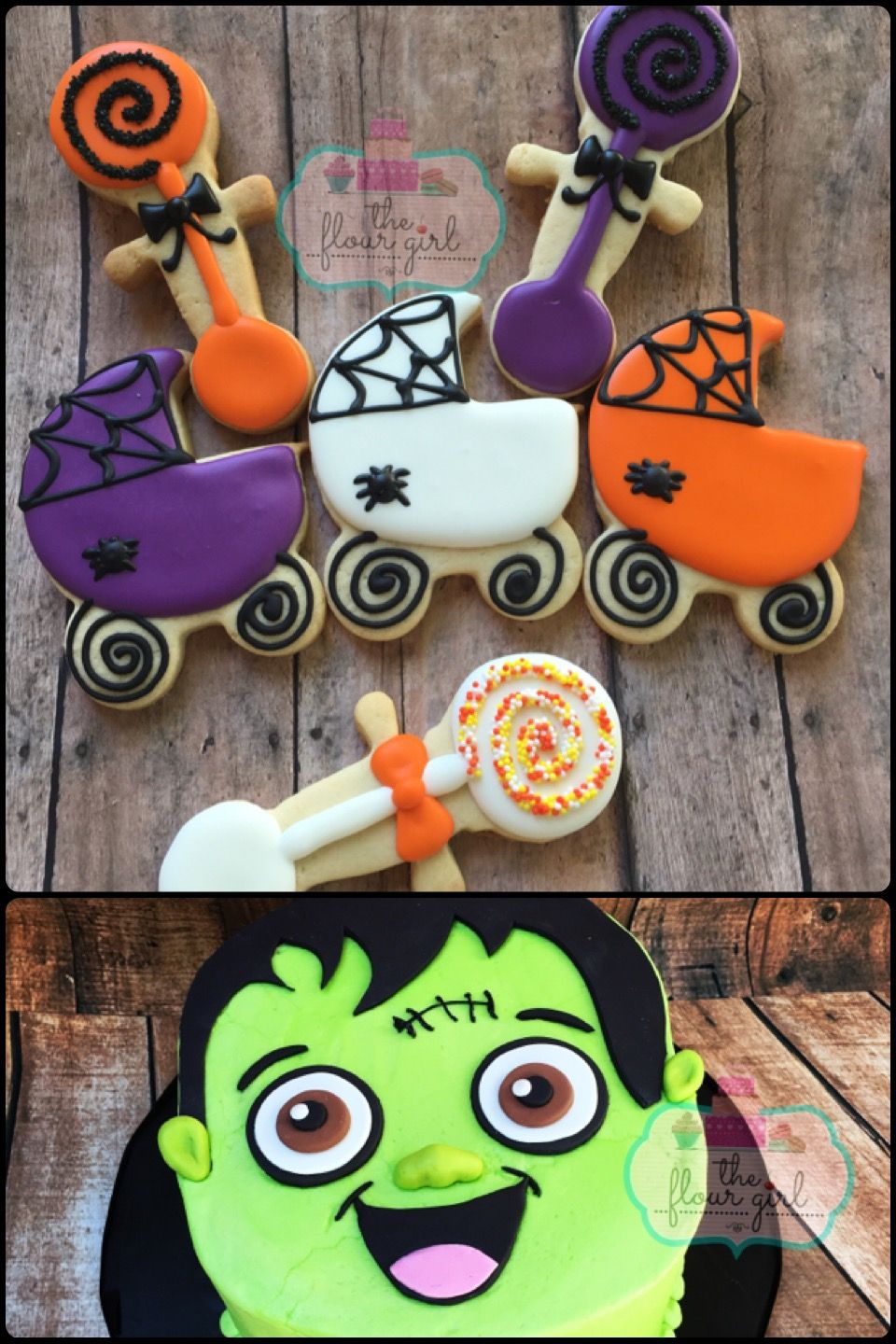 Halloween Themed Baby Shower Cookies.Halloween Baby Shower Frankenstein Cake And Cookies The Flour Girl