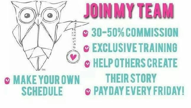 Join my Team!!  Great way to meet new people, set your own schedule and make extra cash.  Join my team at www.katrinabeverly.origamiowl.com my designer number is 8999.  Would love to have you on our team!!