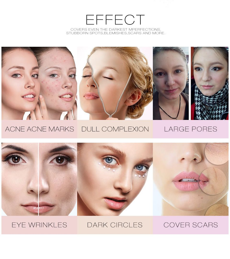 Full Cover Concealer Cream Makeup Cover Pore Wrinkle