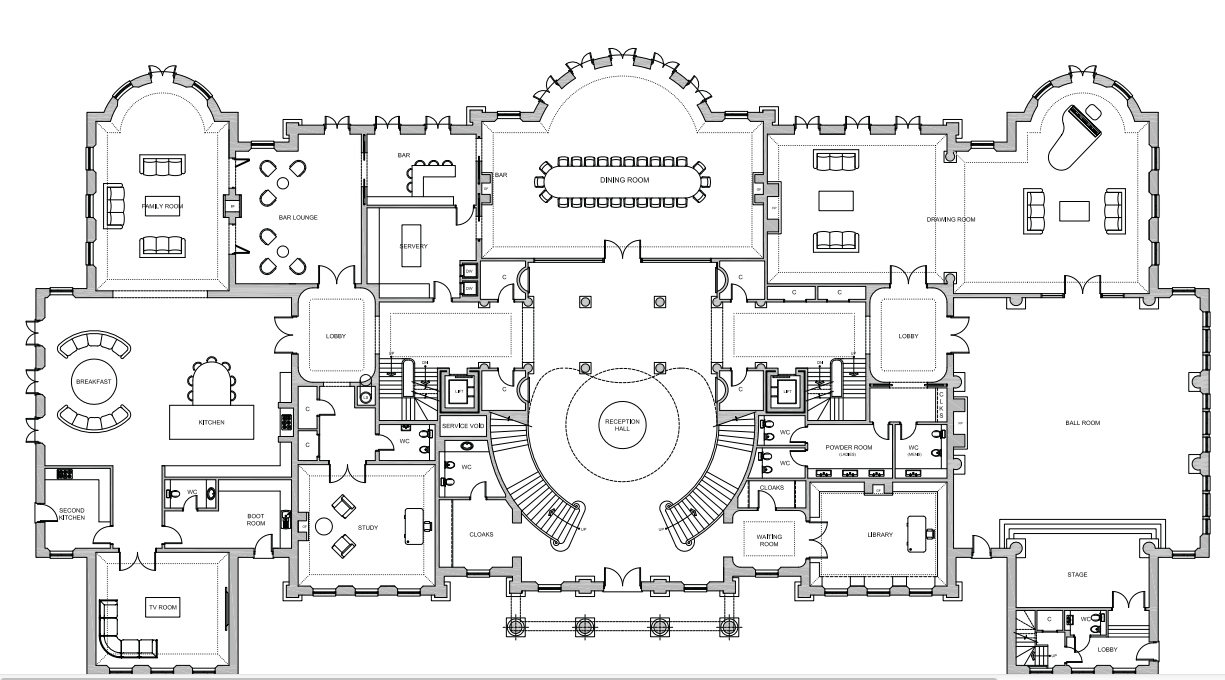 Ground main living floor plan of a 56000 square foot home by ascot design to be built in berkshire england
