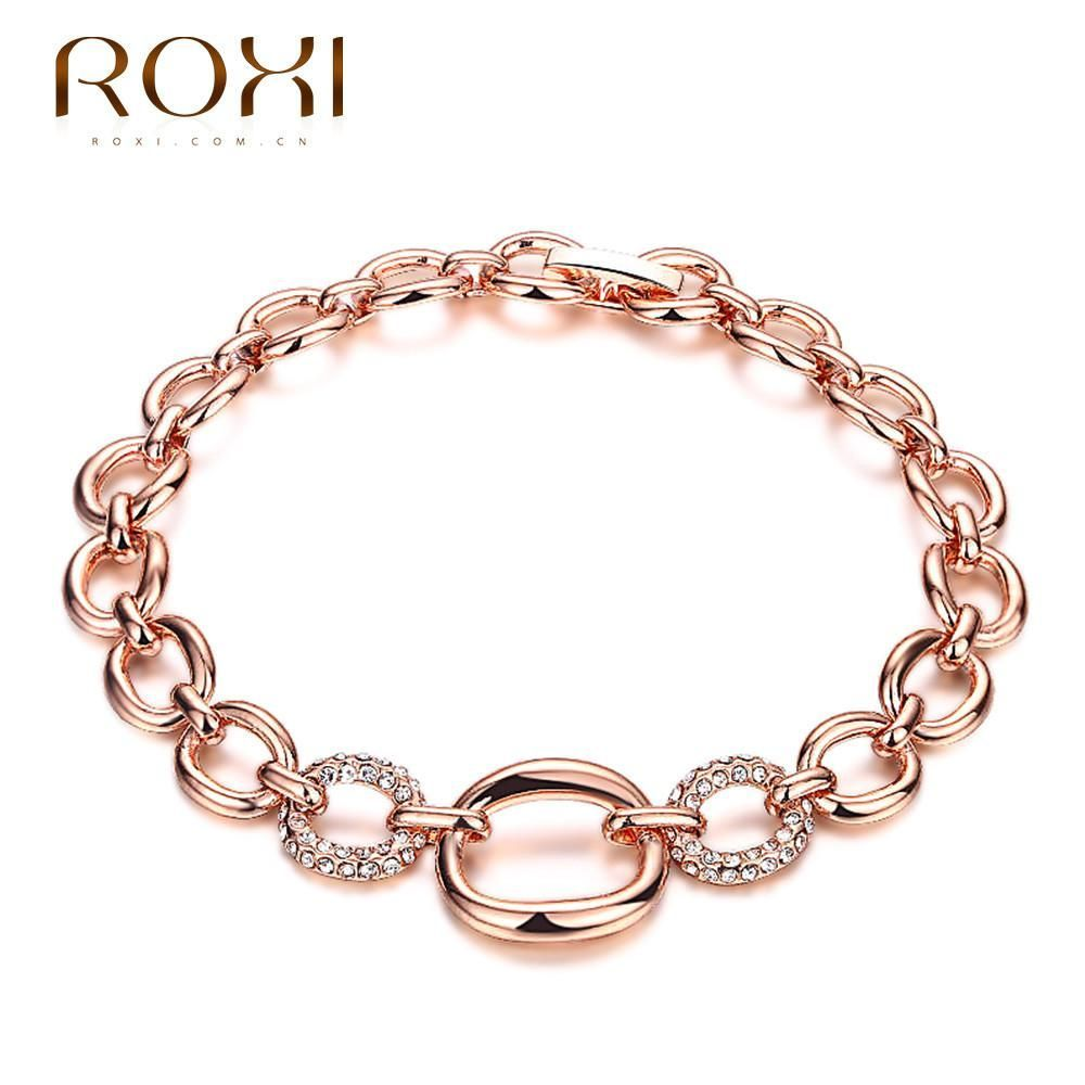 Roxi rose gold crystal cz chain link bracelet products
