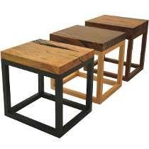 Mesa Auxiliar Rustica Industrial Vintage Madera Hierro Muebles