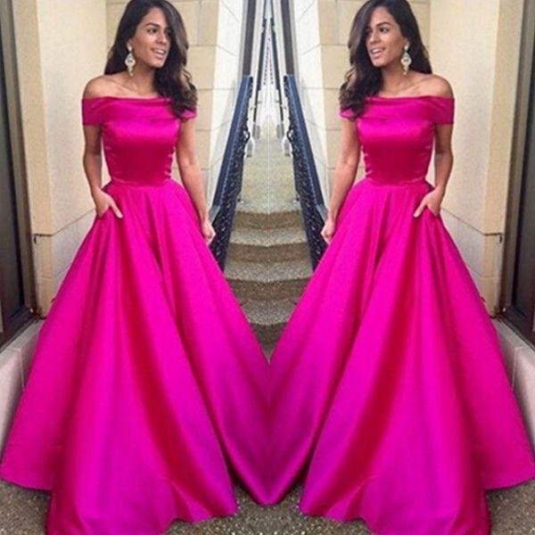 Custom Made Fuchsia A-line Off-shoulder Floor Length Prom Dress ...