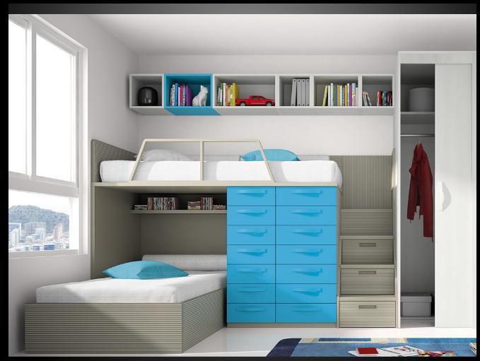Dormitorio juvenil con literas buscar con google casa pinterest dormitorios juveniles - Literas para habitaciones pequenas ...