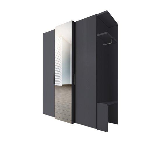 One 3 Door Wardrobe Express Mobel Colour Graphite Tall Cabinet Storage Locker Storage Storage