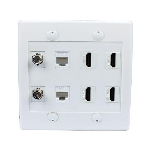 Combination 2 Port Coax Cable Tv F Type 2 Cat5e Ethernet And 4 Hdmi Wall Plate Plates On Wall Wall Plates