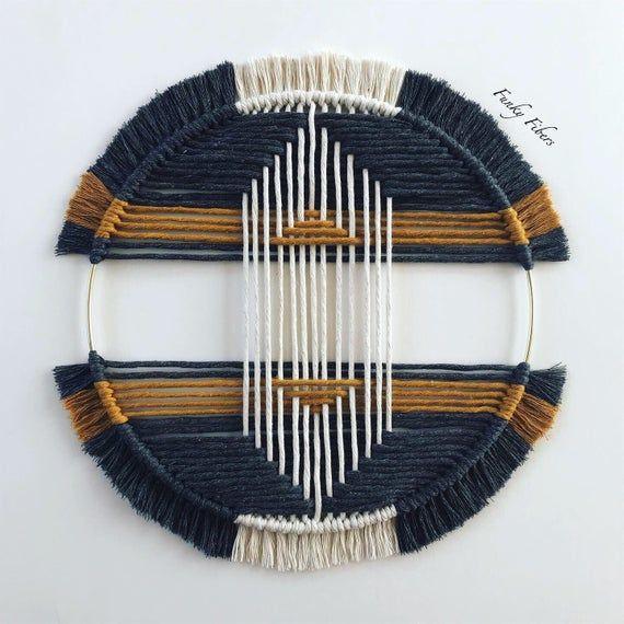 Tribal design macrame in charcoal grey + mustard – macrame wall hanging – boho home decor – macrame hoop – tribal designs – FunkyFibersMN
