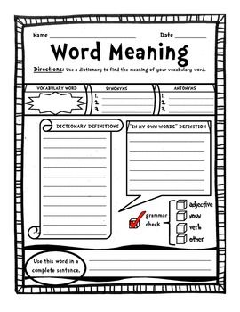 Graphic Organizer Personal Student Dictionary Word