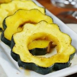 Baked Acorn Squash Slice Brush On Butter Sprinkle With Salt Pepper Cinnamon Brown Sugar Bake At 400 Until Squash Recipes Squash Recipes Food