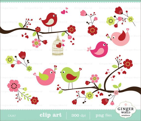 clipart flowers and birds - photo #8